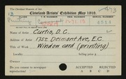 Entry card for Curtis, Dorothy C. for the 1919 May Show.