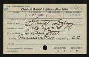 Entry card for Dale, Stanley for the 1919 May Show.