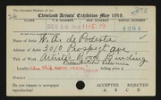 Entry card for De Podesta, W. A. for the 1919 May Show.