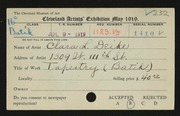 Entry card for Deike, Clara L. for the 1919 May Show.