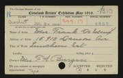 Entry card for De Maux, Mrs. E. for the 1919 May Show.