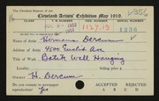 Entry card for Dercum, Hermann for the 1919 May Show.