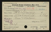 Entry card for Drury, Herbert R. for the 1919 May Show.