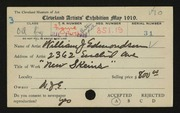 Entry card for Edmondson, William J. for the 1919 May Show.