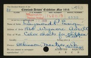 Entry card for Ensign, Raymond P. for the 1919 May Show.