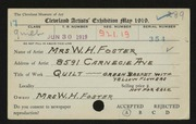 Entry card for Foster, Mrs. W. H. for the 1919 May Show.