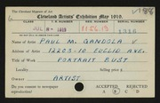 Entry card for Gandola, Paul M. for the 1919 May Show.