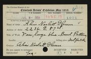 Entry card for Glenn, Alice Nesbitt for the 1919 May Show.