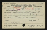 Entry card for Gottwald, Frederick Carl, and Cleveland School of Art for the 1919 May Show.