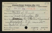 Entry card for Grant, Mabel S. for the 1919 May Show.