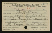 Entry card for Green, William B., and Rorimer-Brooks Studios for the 1919 May Show.