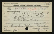 Entry card for Hardin, Caroline Wilson for the 1919 May Show.
