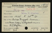 Entry card for Higbee, William T. for the 1919 May Show.