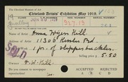 Entry card for Hill, Anna Wyers for the 1919 May Show.