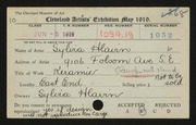 Entry card for Hlavin, Sylvia for the 1919 May Show.