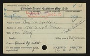 Entry card for Holden, Cora for the 1919 May Show.