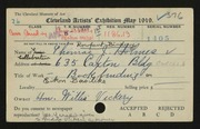 Entry card for Holmes, Thomas James, and Caxton Company for the 1919 May Show.