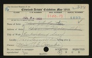 Entry card for Hornke, Mrs. R. E. for the 1919 May Show.