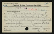 Entry card for House, Harriet Louise for the 1919 May Show.