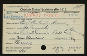 Entry card for Howard, Hugh Huntington for the 1919 May Show.