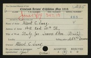 Entry card for Jung, Albert C. for the 1919 May Show.