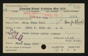 Entry card for Karl, Emma, and Cleveland Society for the Blind for the 1919 May Show.
