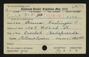 Entry card for Karlinger, Anna for the 1919 May Show.