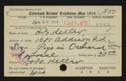 Entry card for Keller, Henry G. for the 1919 May Show.