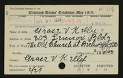 Entry card for Kelly, Grace Veronica for the 1919 May Show.
