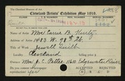 Entry card for Kurtz, Mrs. Carrie B. for the 1919 May Show.