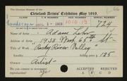 Entry card for Lehr, Adam for the 1919 May Show.