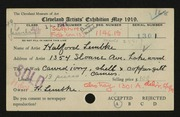 Entry card for Lembke, Halford for the 1919 May Show.