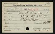 Entry card for Linder, William E. for the 1919 May Show.