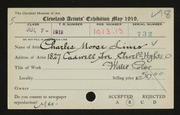 Entry card for Lines, Charles Morse for the 1919 May Show.