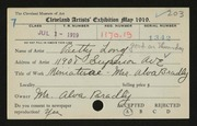 Entry card for Long, Elizabeth French for the 1919 May Show.