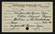 Entry card for Lyon, Jeanette Agnew for the 1919 May Show.