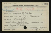 Entry card for Miles, Eugene R. for the 1919 May Show.