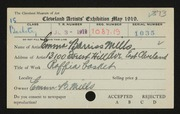 Entry card for Mills, Emma Barris for the 1919 May Show.