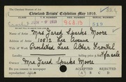 Entry card for Moore, Mrs. Jared Sparks for the 1919 May Show.