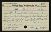 Entry card for Moorehouse, Grace A. for the 1919 May Show.