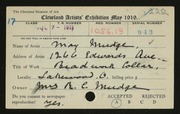 Entry card for Mudge, May for the 1919 May Show.