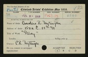 Entry card for Mytinger, Caroline for the 1919 May Show.