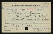 Entry card for Page, Mary C. for the 1919 May Show.