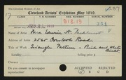 Entry card for Parkhurst, Margaret B. for the 1919 May Show.