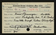 Entry card for Pfenninger, Anna for the 1919 May Show.