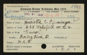 Entry card for Pfenninger, Henrietta C. for the 1919 May Show.