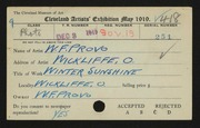 Entry card for Provo, W. F. for the 1919 May Show.