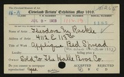 Entry card for Rackle, Theodora M. for the 1919 May Show.