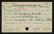 Entry card for Rainaldi, Josephine for the 1919 May Show.