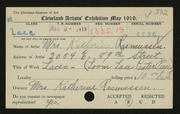 Entry card for Rasmussen, Katherine for the 1919 May Show.